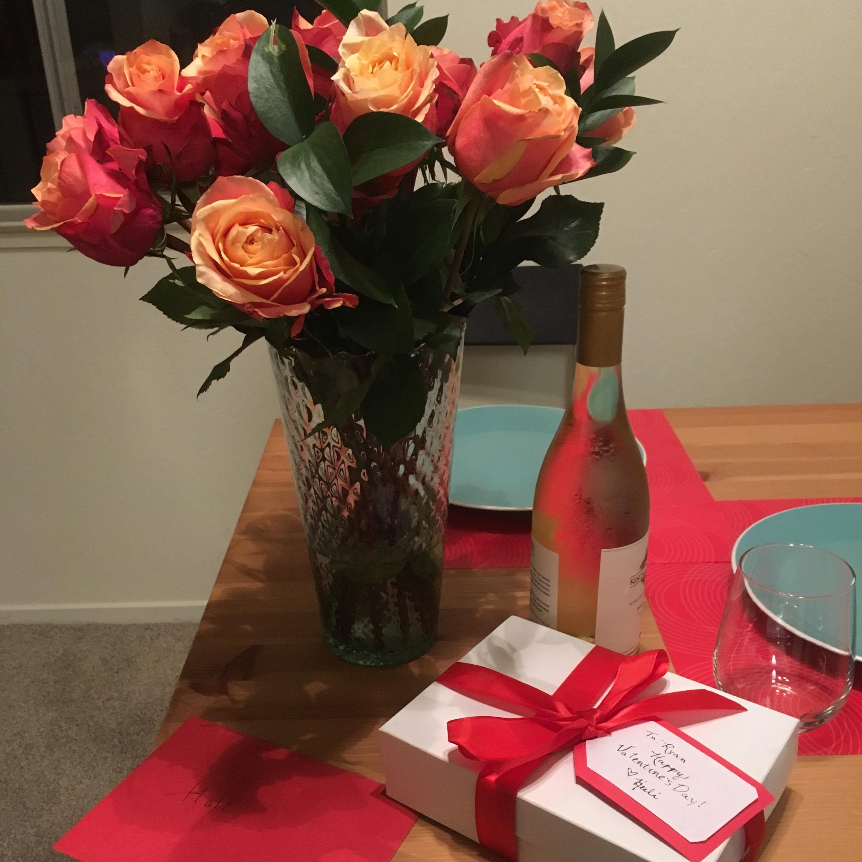 Valentine's chocolate and roses