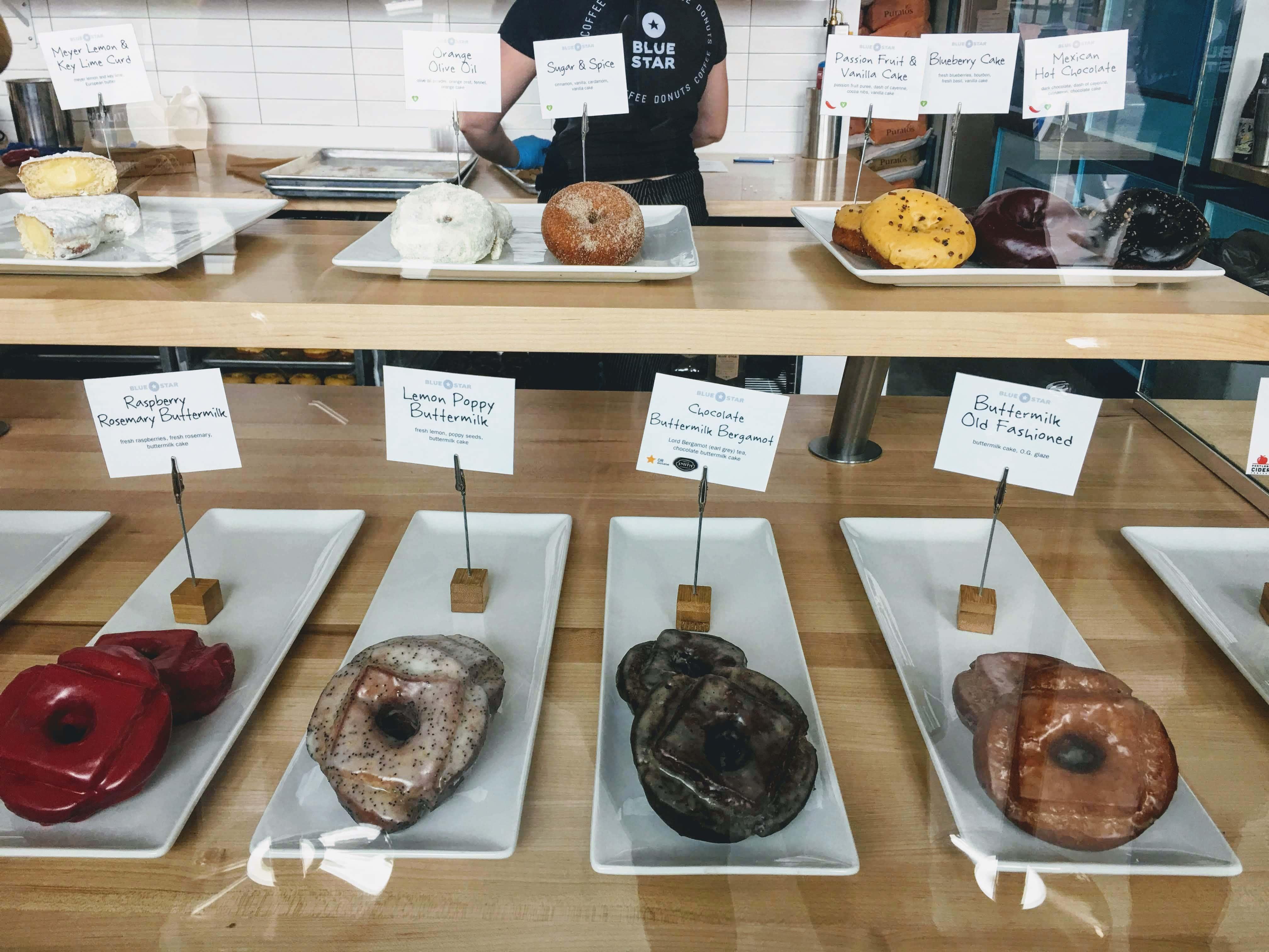 blue star donuts Portland, Oregon display