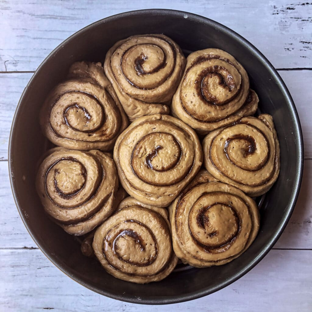 Brown sugar rolls after the second proof and before going in the oven