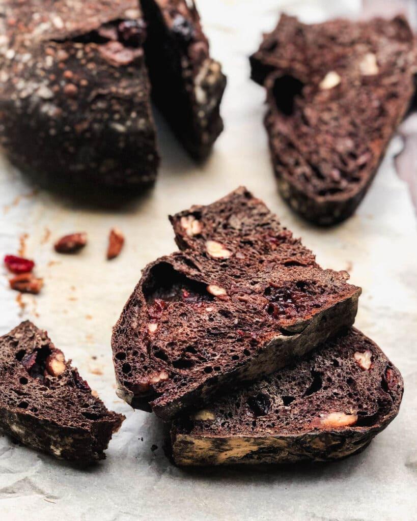 chocolate sourdough slices