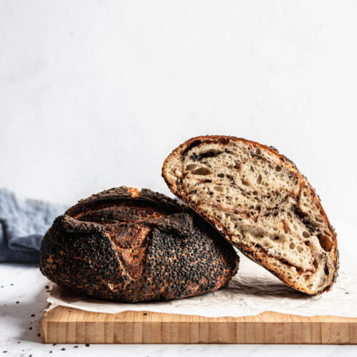 red bean and black sesame sourdough bread