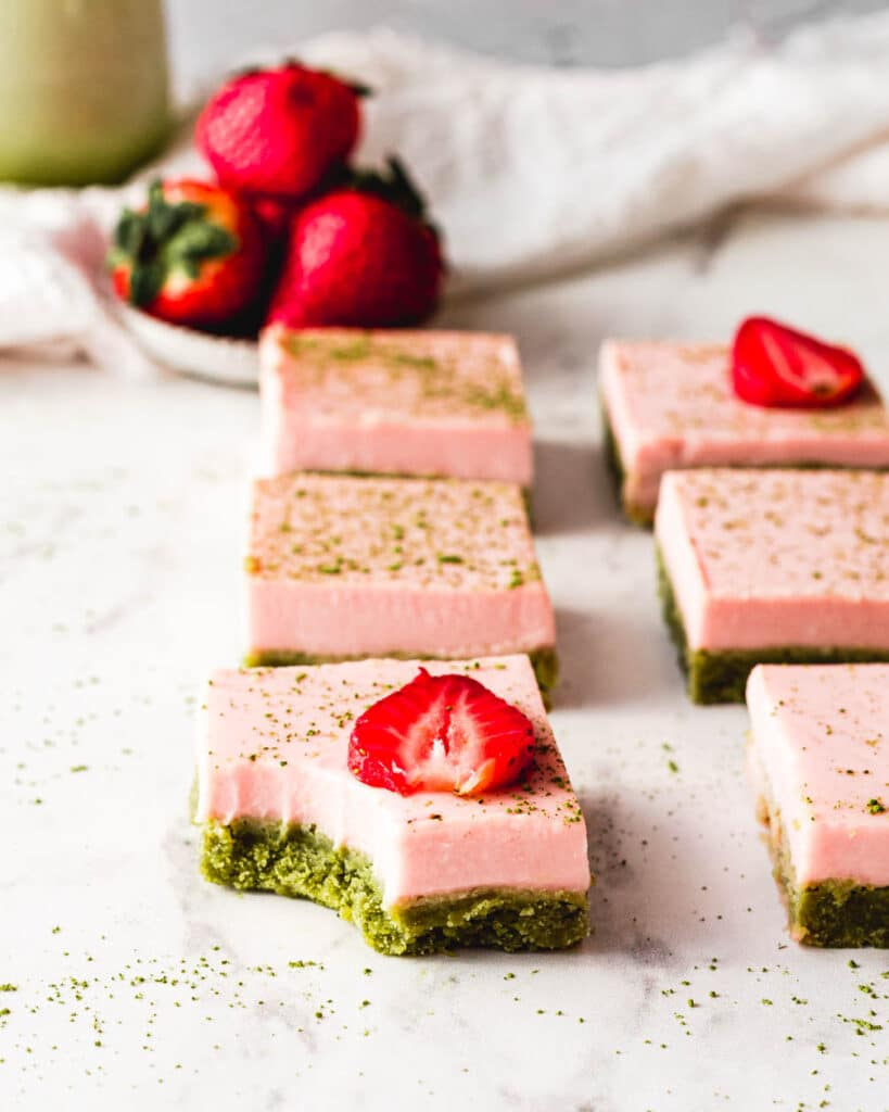 matcha strawberry cream bars