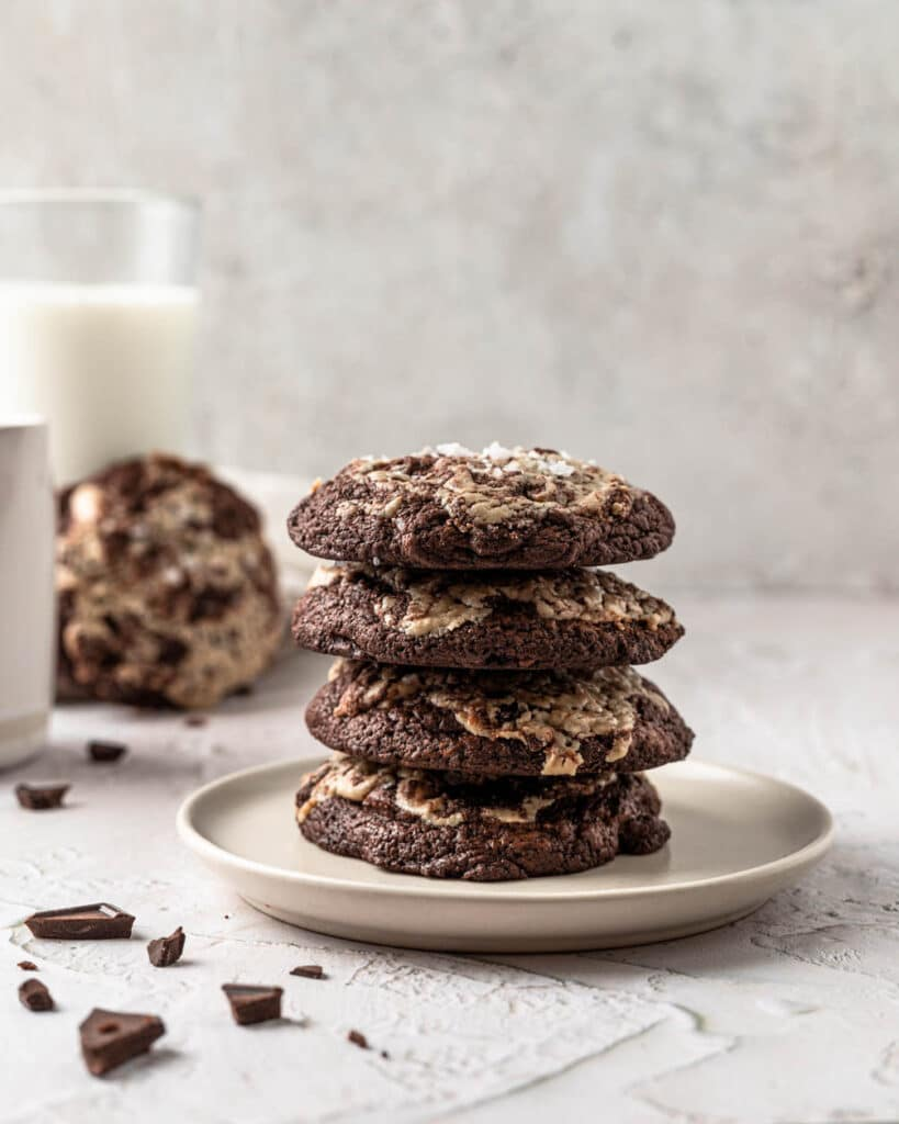 stack of fudgy chocolate cookies