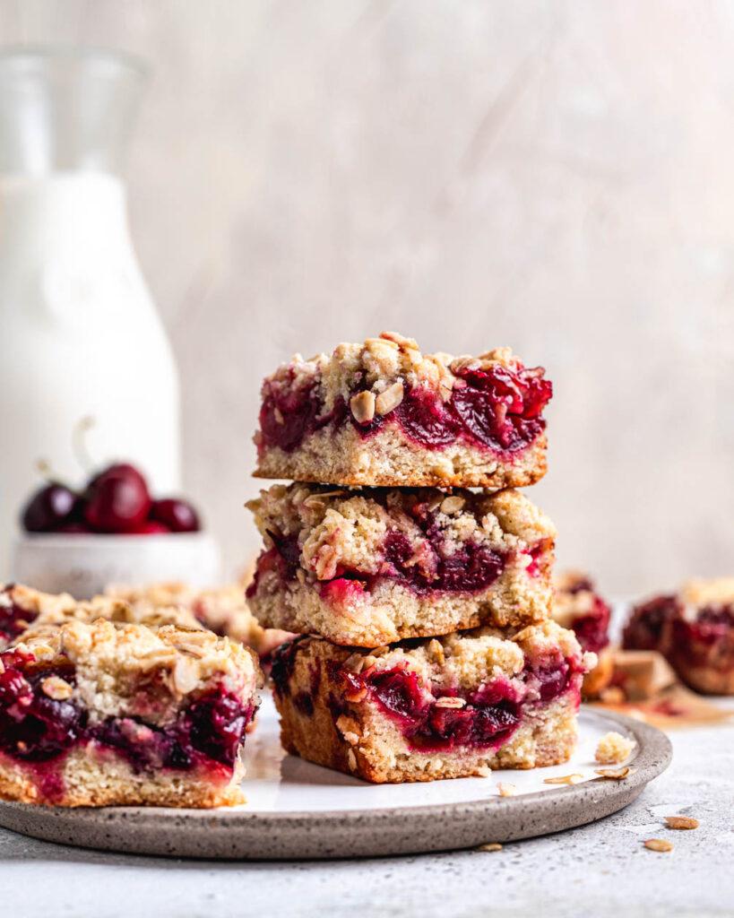 cherry crumble pie bars with milk