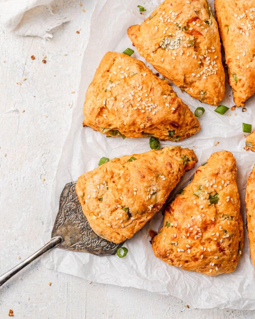 flatlay of gochujang scones