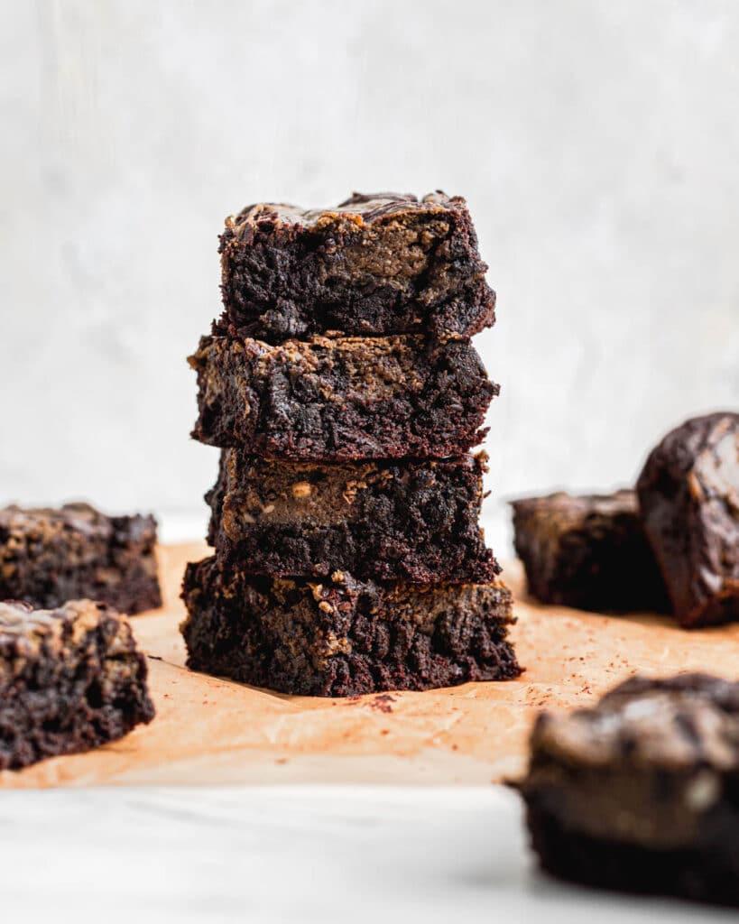 stack of hojicha cheesecake brownies
