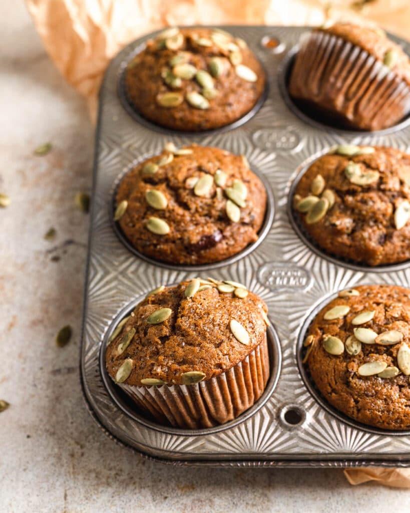 pumpkin muffin in tray