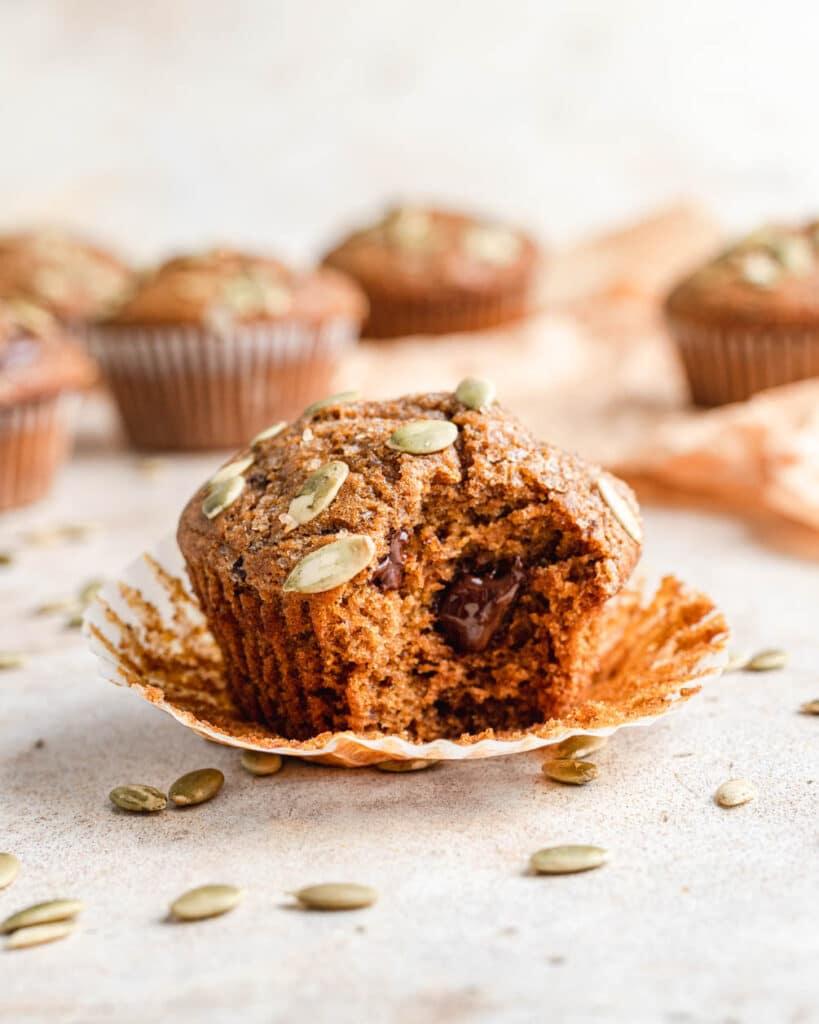 sourdough pumpkin muffin with chocolate